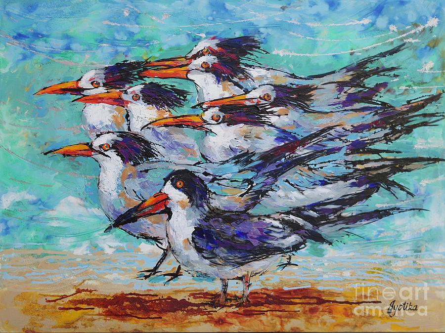 Black Skimmer among Royal Terns by Jyotika Shroff