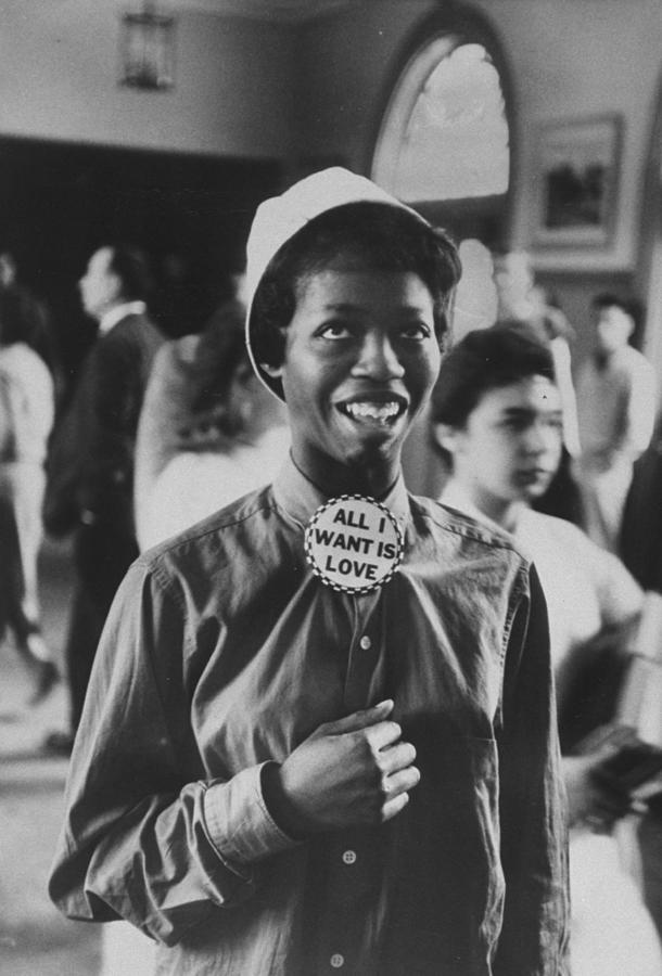 Black Student Wearing Hat & Button On Sh Photograph by Gordon Parks
