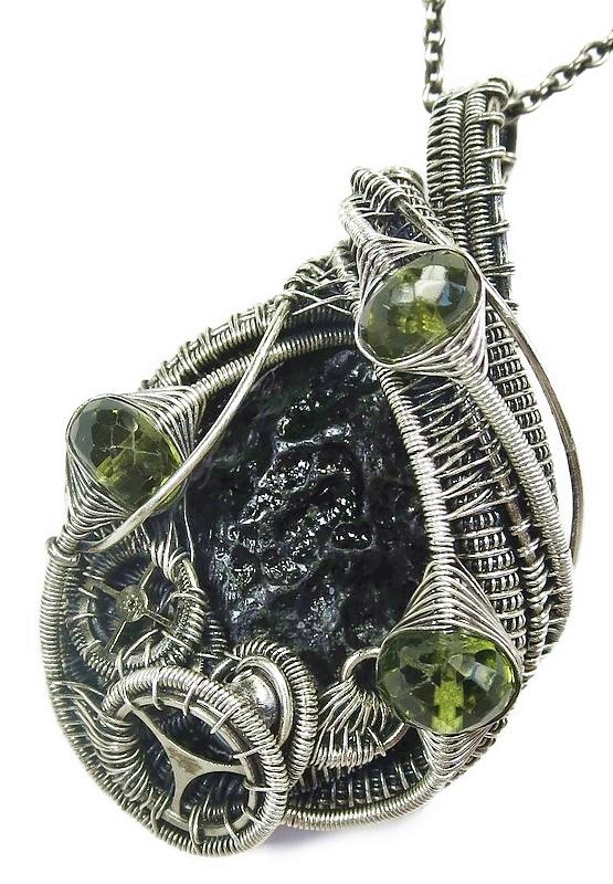 Black Tektite Wire-wrapped Steampunk Pendant In Sterling