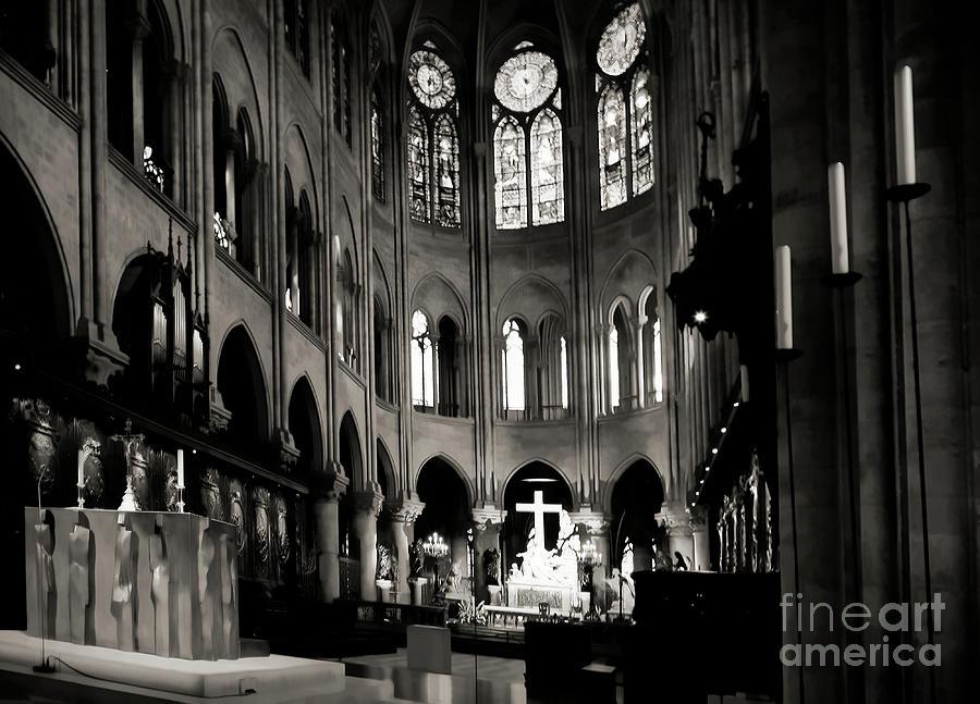 Black White Alter Notre Dame Paris  by Chuck Kuhn