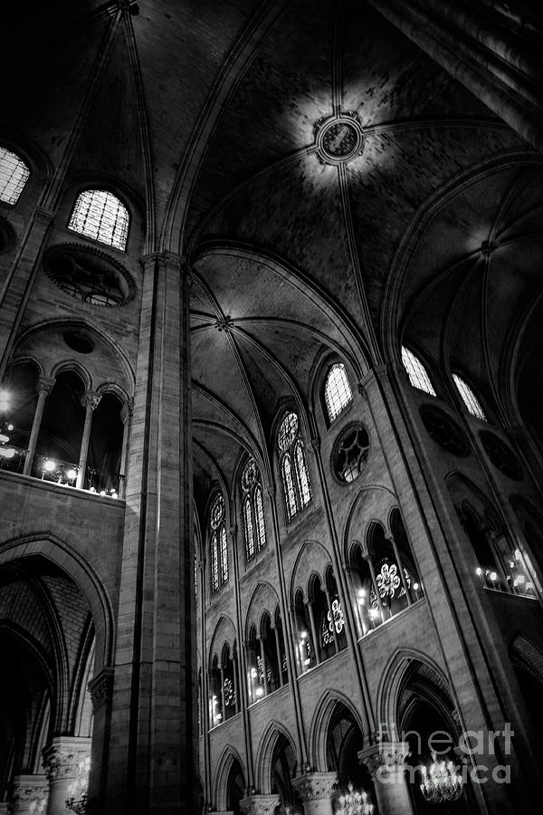 Black White Interior Notre Dame Cathedral Paris  by Chuck Kuhn