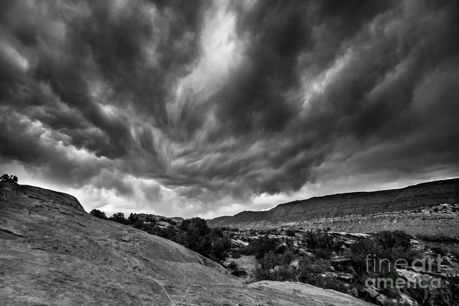 Black White Stormy Night Sky Arches National Park - Utah by Gary Whitton