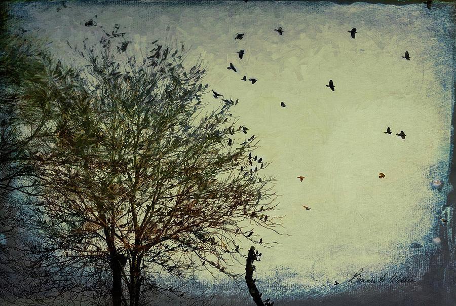 Blackbirds Stormy Flight by Bonnie Willis