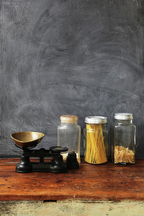 Blackboard With Wooden Table And Glass Photograph by Bloodstone
