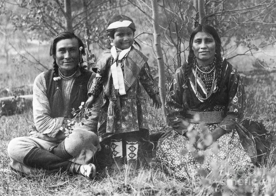 1907 Photograph - Blackfoot Family, 1907 by Mary TS Schaffer