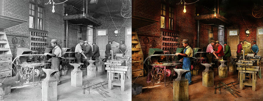 Blacksmith - Blacksmithing school 1899 - Side by Side by Mike Savad