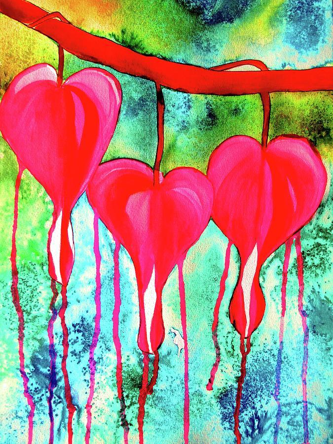 Flowers Painting - Bleeding Hearts by Sacha Grossel