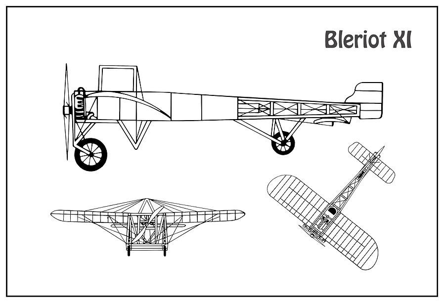 bleriot xi airplane blueprint drawing plans or schematics with Vulcan Airplane Schematics bleriot xi airplane blueprint drawing plans or schematics with design outline for the bleriot xi