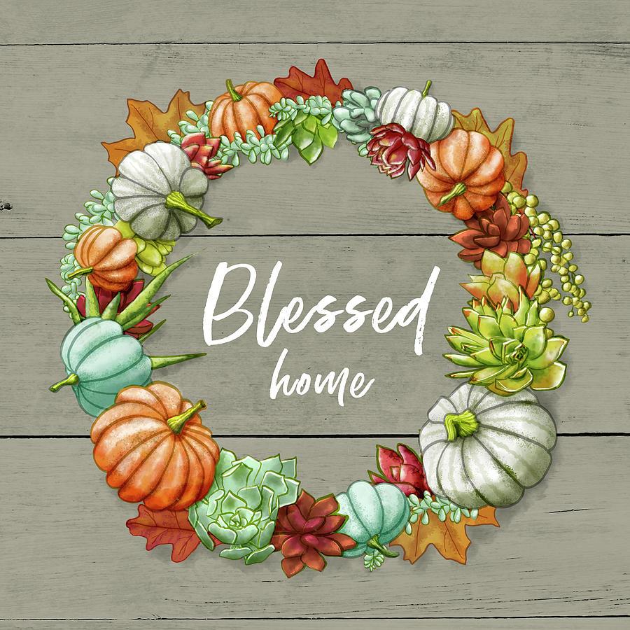 Blessed Home Succulent Pumpkin Wreath by Jen Montgomery by Jen Montgomery