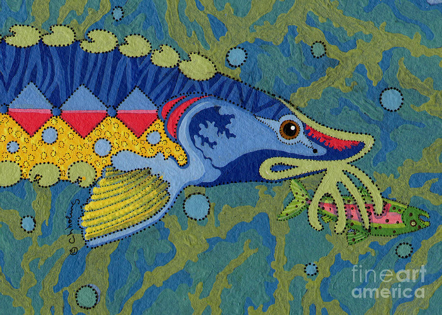 Native American Painting - Blessed Sturgeon by Chholing Taha