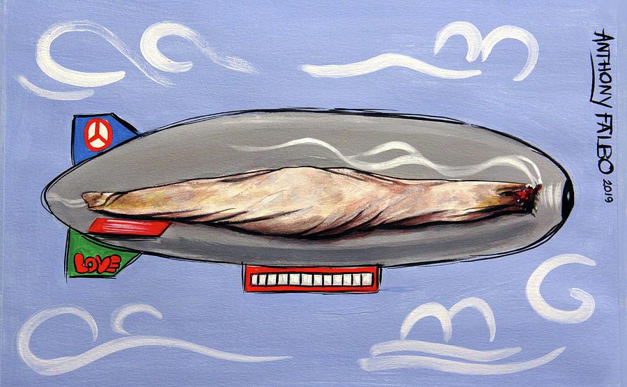 Whimsical Painting - Blimp Smoking Lounge by Anthony Falbo
