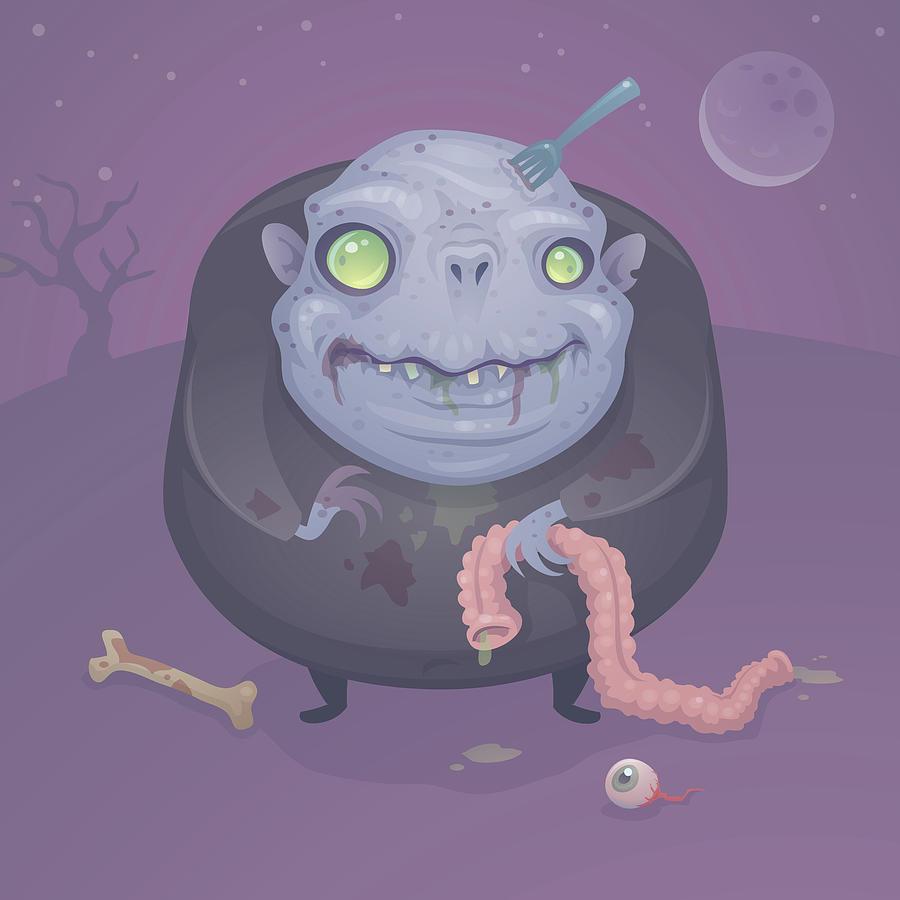 Zombie Digital Art - Blob Zombie by John Schwegel