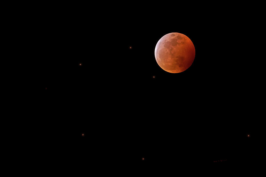 Blood Moon And Stars H1932 Photograph