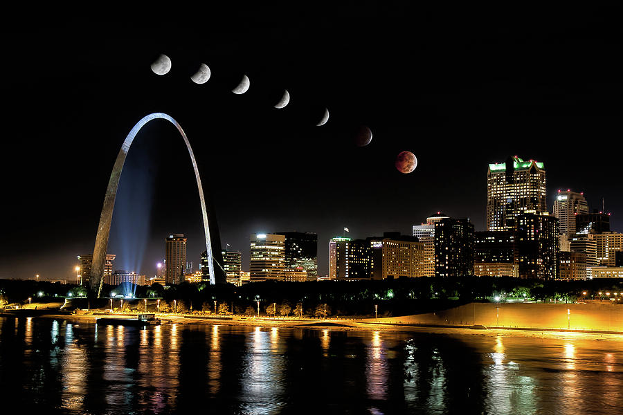 Blood Moon over St. Louis 2 by Randall Allen