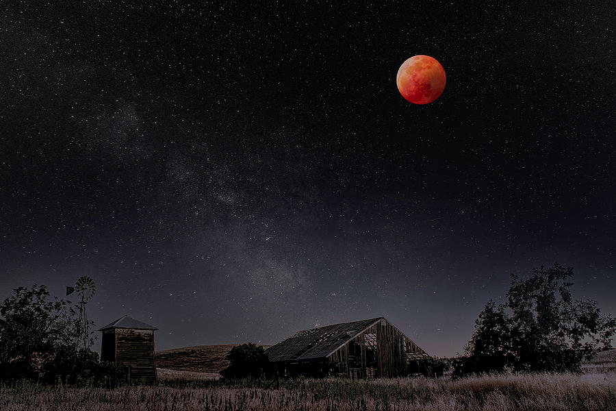 Blood Moon Over the Central Valley by PhotoWorks By Don Hoekwater