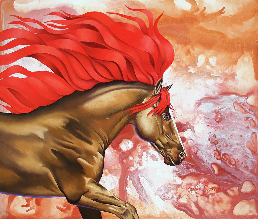 Black Stallion Painting - Blood Of The Stallion by Graeme Stevenson