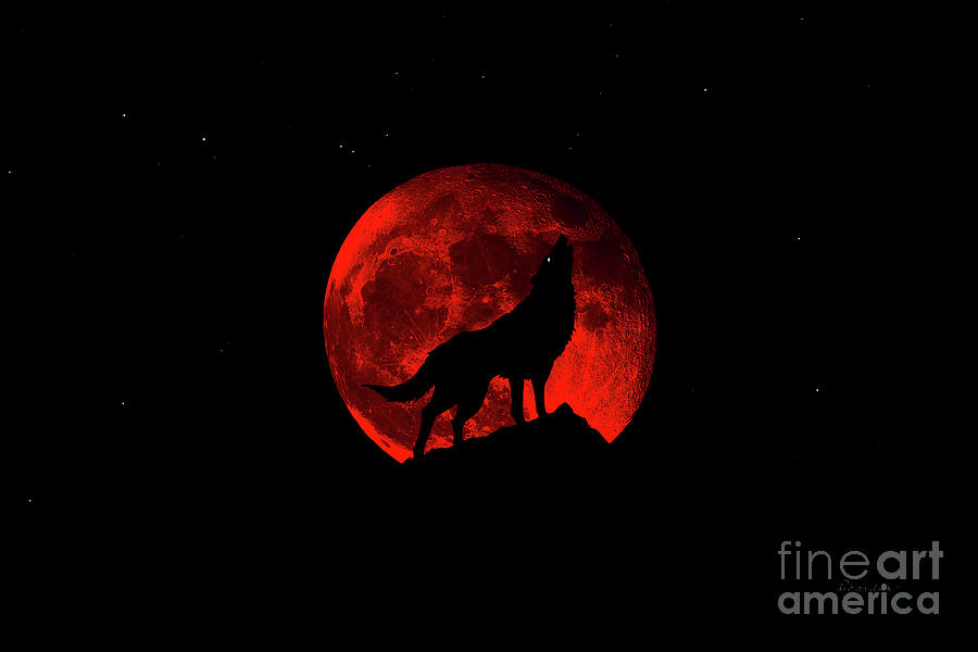 Blood Red Wolf Supermoon Eclipse 873k by Ricardos Creations