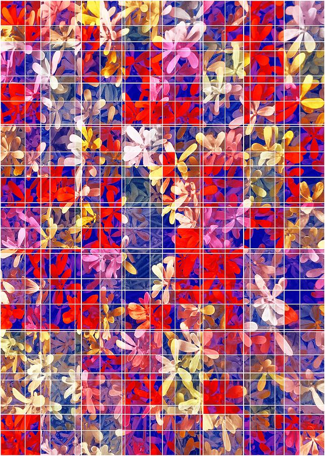 Blooming Flower With Square Pattern Abstract In Red And Blue Digital Art