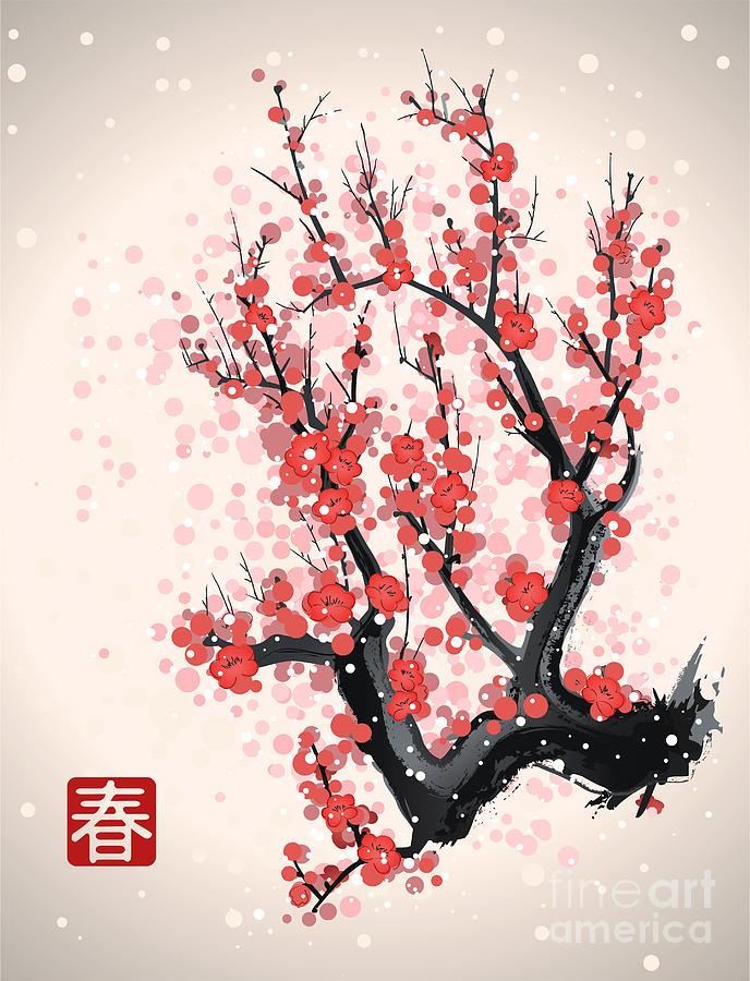 Harmony Digital Art - Blooming Flowers On The Tree Branch by Yevhen Tarnavskyi