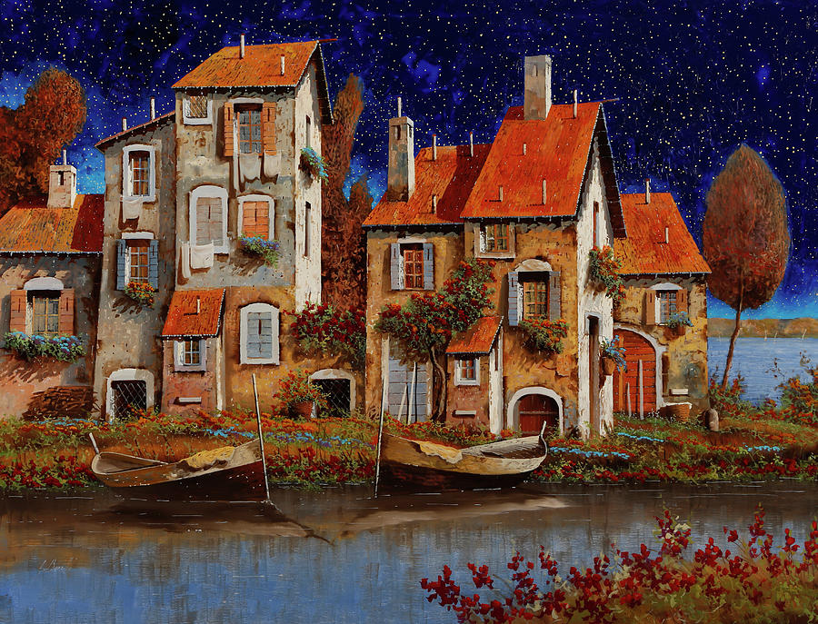 Blue Night Painting - Blu Notte by Guido Borelli