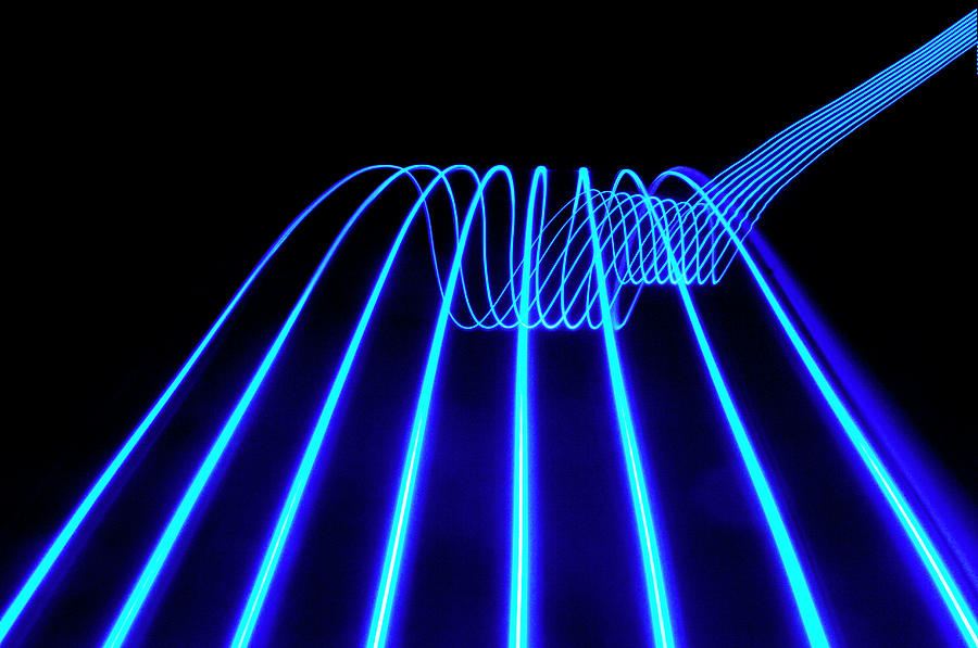 Blue Abstract Coloured Lights Trails Photograph by John Rensten