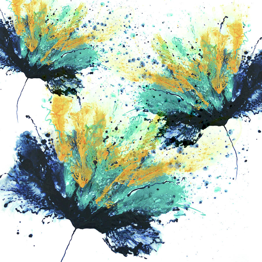 Blue Teal Yellow Navy Orange Abstract Canvas Wall Art Large Picture Print