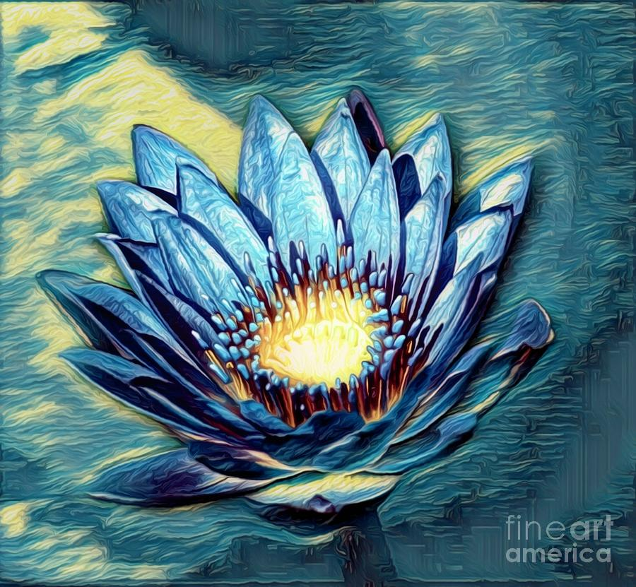 Blue Abstract Waterlily by Karen Silvestri