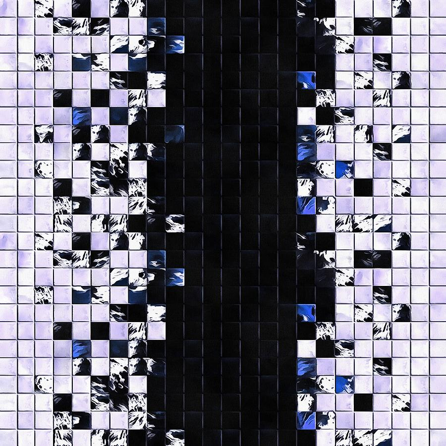 Blue Accent Black And White Square Tiled Ceramic Mosaic Pattern  by Taiche Acrylic Art