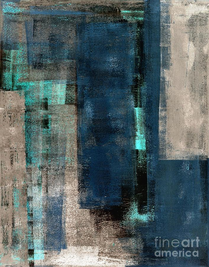 Office Digital Art - Blue And Beige Abstract Art Painting by T30 Gallery