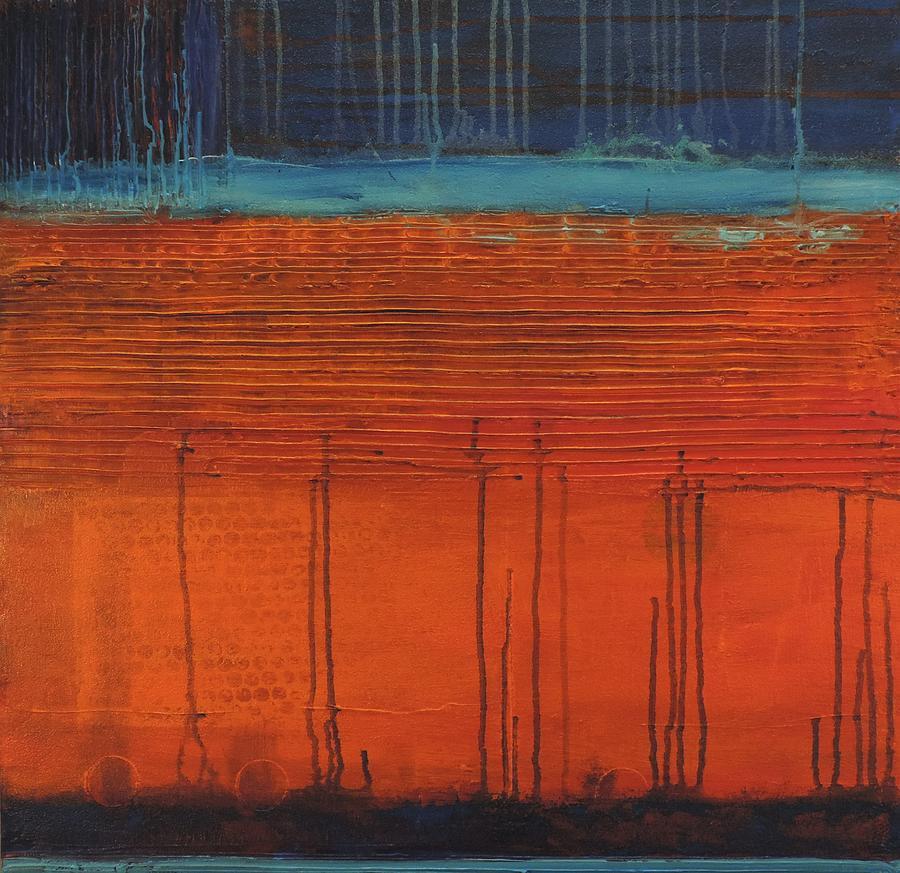 Acrylic Painting - Blue And Orange Harmony by Bill Tomsa