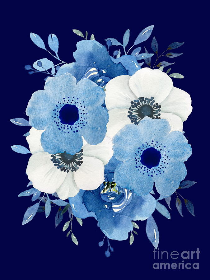 Blue and White Floral Bouquet by Marti Magna