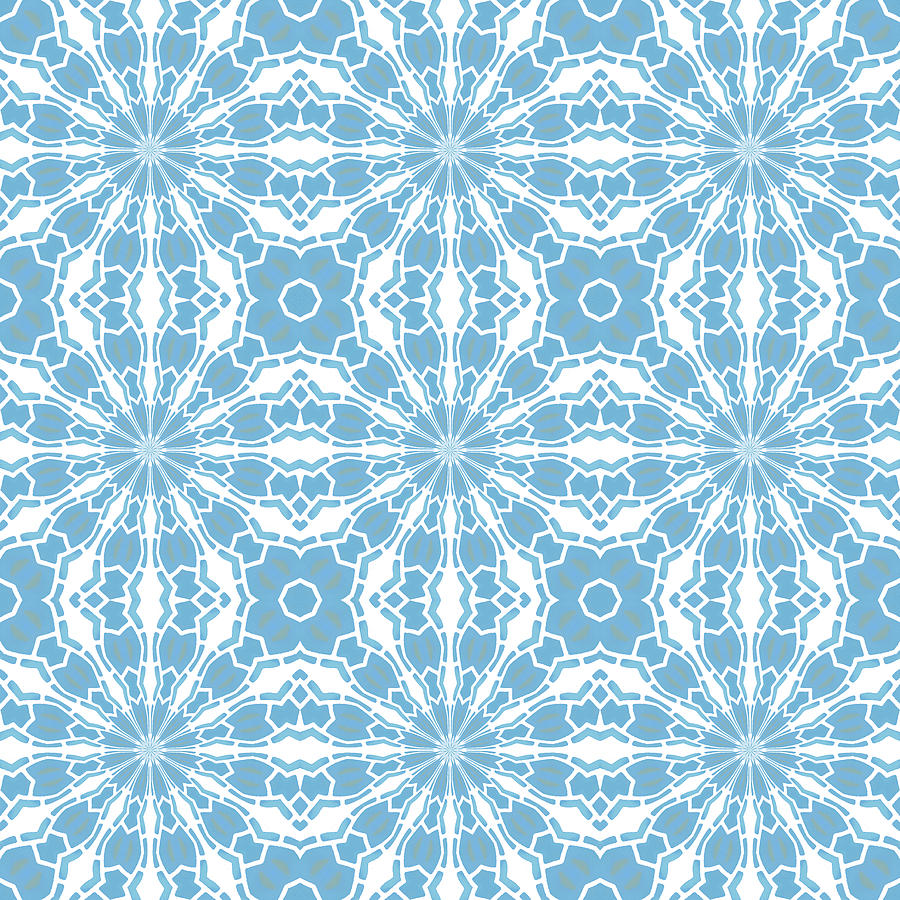Blue and white tile Kaleidoscope by Denise Beverly