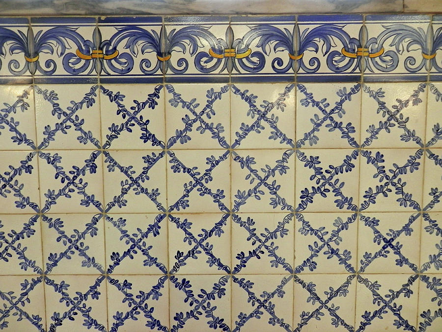Blue and White Tiles in Pasteis de Belem Dessert Shop by Pema Hou