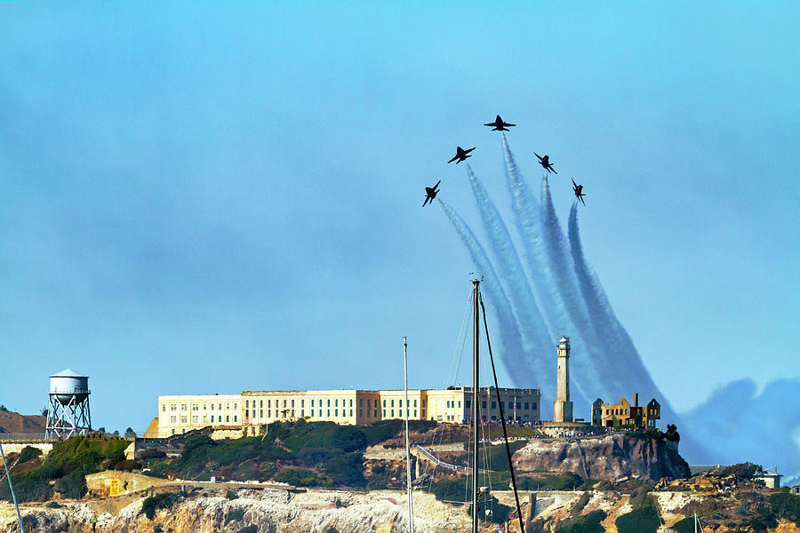 Blue Angels Over Alcatraz Island 1 by Bonnie Follett