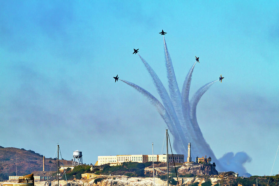 Blue Angels Over Alcatraz Island 2 by Bonnie Follett