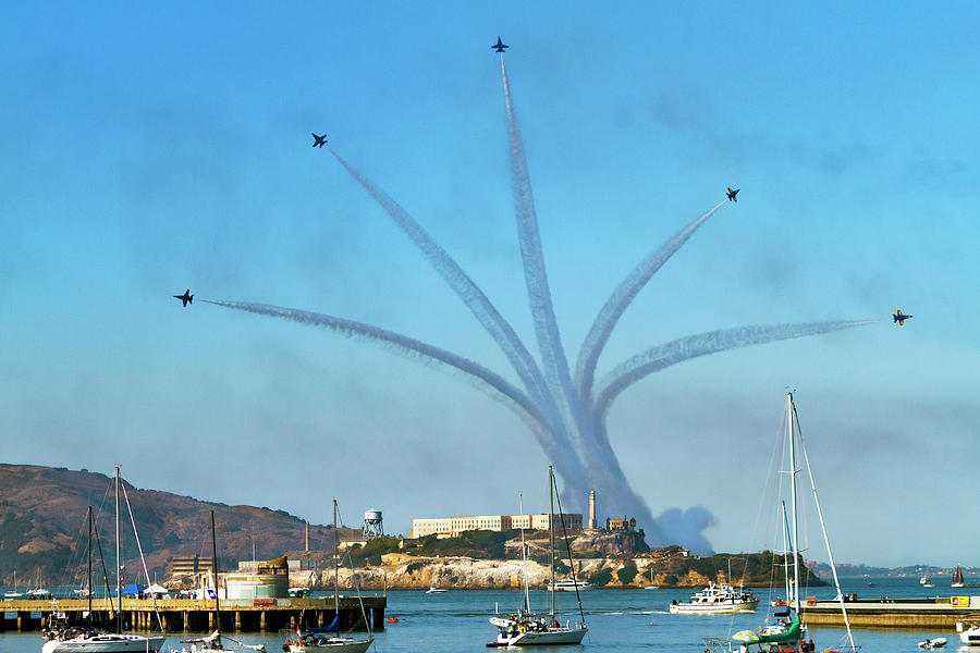 Blue Angels Over Alcatraz Island 3 by Bonnie Follett
