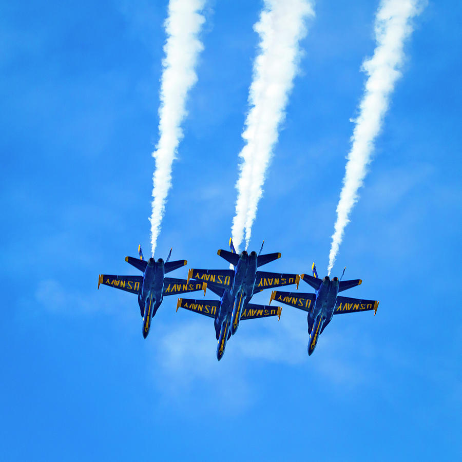 Blue Angels Over Head Surprise Square by Bonnie Follett