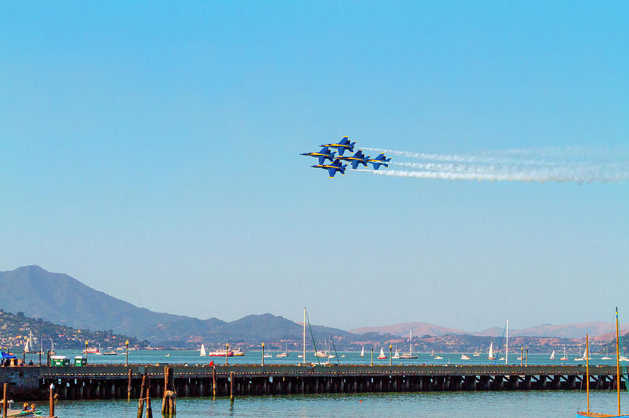 Blue Angels Over The Bay by Bonnie Follett