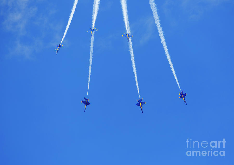 Mcdonnell Douglas F/a-18 Hornet Photograph - Blue Angels Performing Maneuvers From The Delta Formation At The by Louise Heusinkveld
