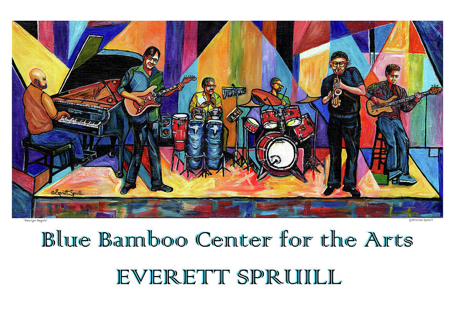 Blue Bamboo Center Poster by Everett Spruill