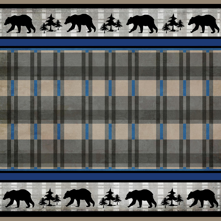 Bear Mixed Media - Blue Bear Lodge Pattern 6 by Lightboxjournal