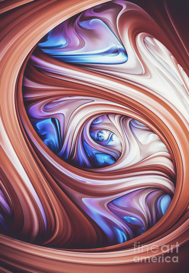 Blue Berry, Caramel. Abstract Swirl by Stephen Geisel