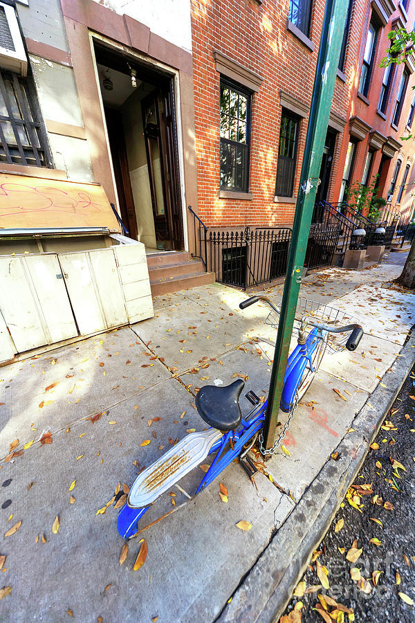 Greenwich Village Photograph - Blue Bicycle In Greenwich Village New York City by John Rizzuto