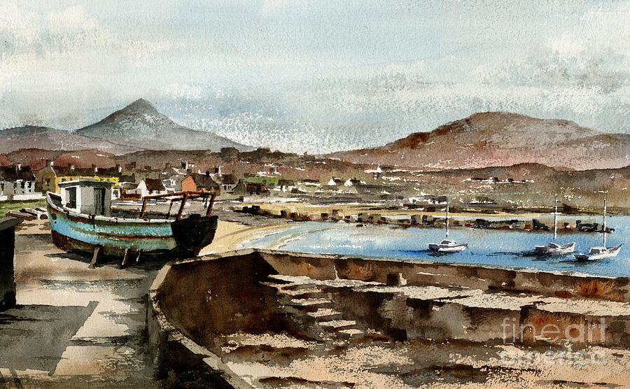 Blue boat at Greystones Harbour by Val Byrne