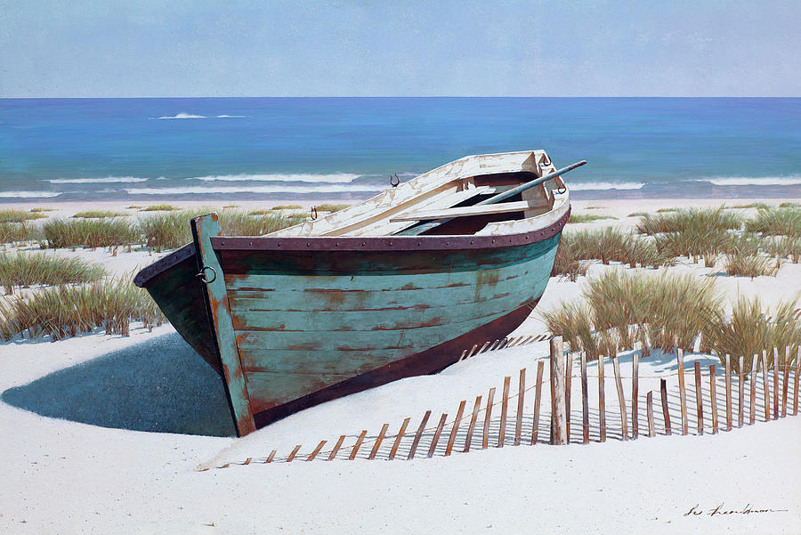 Landscapes Painting - Blue Boat On Beach by Zhen-huan Lu