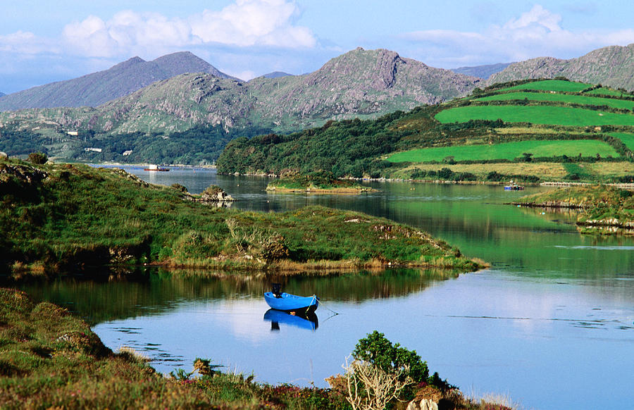 Blue Boat On Tranquil Kenmare River Photograph by John Banagan