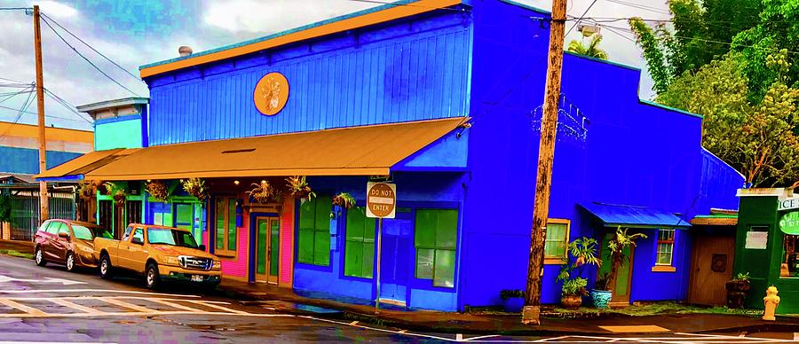 Blue Building Aloha in Hilo TOWN by Joalene Young