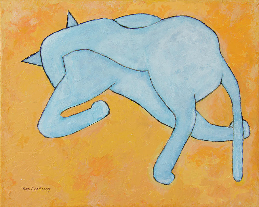 Cat In Blue On Yellow by Ben Gertsberg