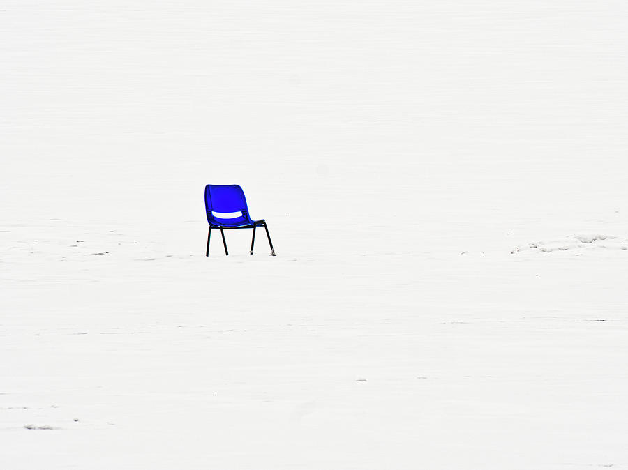 Blue Chair on Frozen Lake Mendota - Madison - Wisconsin by Steven Ralser
