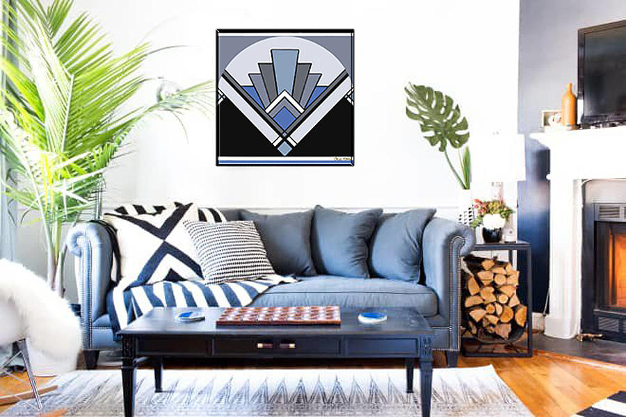 Art Deco Pattern Two - Blue in Home by Chuck Staley